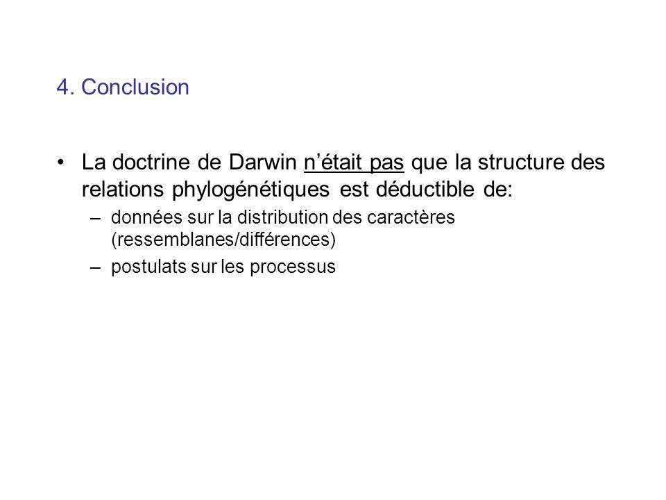 4. Conclusion La doctrine de Darwin nétait pas que la structure des relations phylogénétiques est déductible de: –données sur la distribution des cara