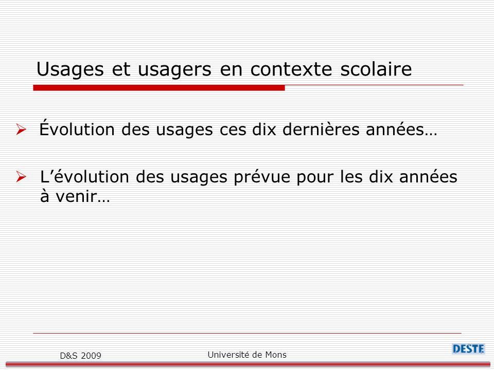D&S 2009 Université de Mons Usages et usagers en contexte scolaire Évolution des usages ces dix dernières années… Lévolution des usages prévue pour les dix années à venir…
