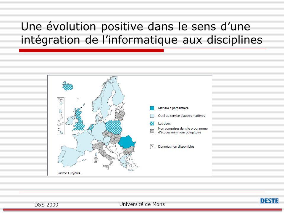 D&S 2009 Université de Mons Une évolution positive dans le sens dune intégration de linformatique aux disciplines