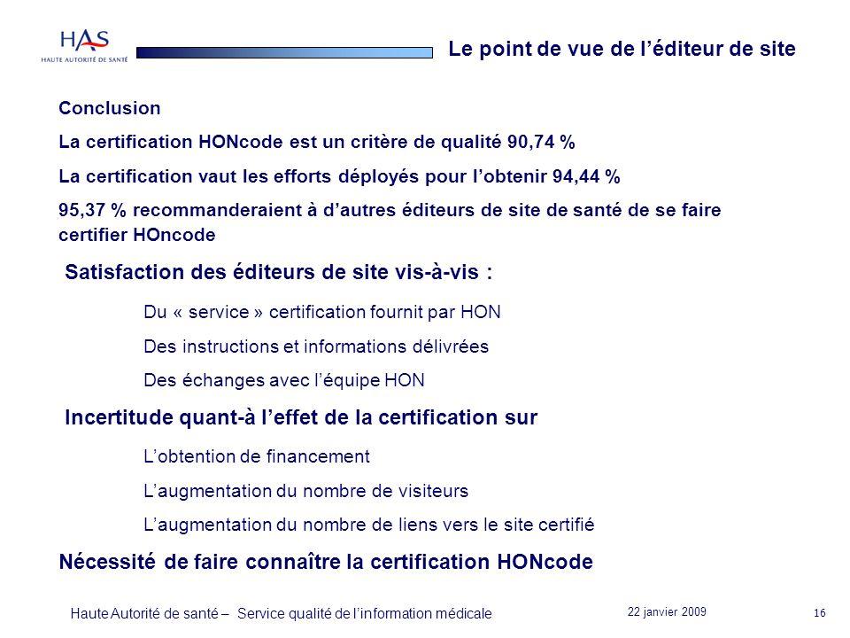 22 janvier 2009 Haute Autorité de santé – Service qualité de linformation médicale 16 Conclusion La certification HONcode est un critère de qualité 90,74 % La certification vaut les efforts déployés pour lobtenir 94,44 % 95,37 % recommanderaient à dautres éditeurs de site de santé de se faire certifier HOncode Satisfaction des éditeurs de site vis-à-vis : Du « service » certification fournit par HON Des instructions et informations délivrées Des échanges avec léquipe HON Incertitude quant-à leffet de la certification sur Lobtention de financement Laugmentation du nombre de visiteurs Laugmentation du nombre de liens vers le site certifié Nécessité de faire connaître la certification HONcode Le point de vue de léditeur de site
