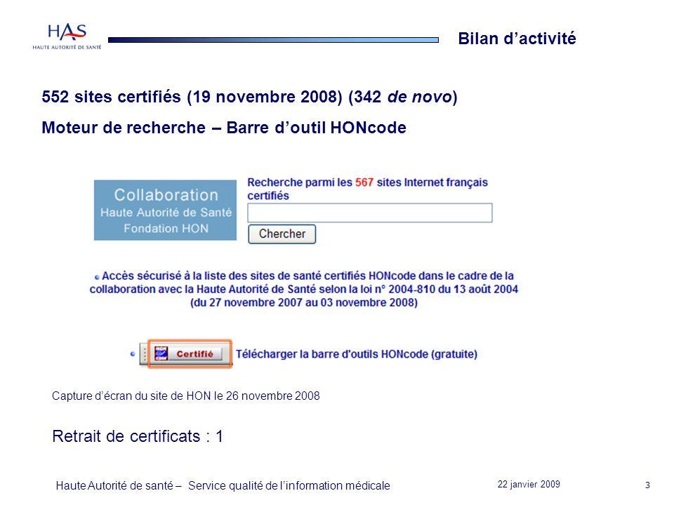 22 janvier 2009 Haute Autorité de santé – Service qualité de linformation médicale 3 Bilan dactivité 552 sites certifiés (19 novembre 2008) (342 de novo) Moteur de recherche – Barre doutil HONcode Retrait de certificats : 1 Capture décran du site de HON le 26 novembre 2008