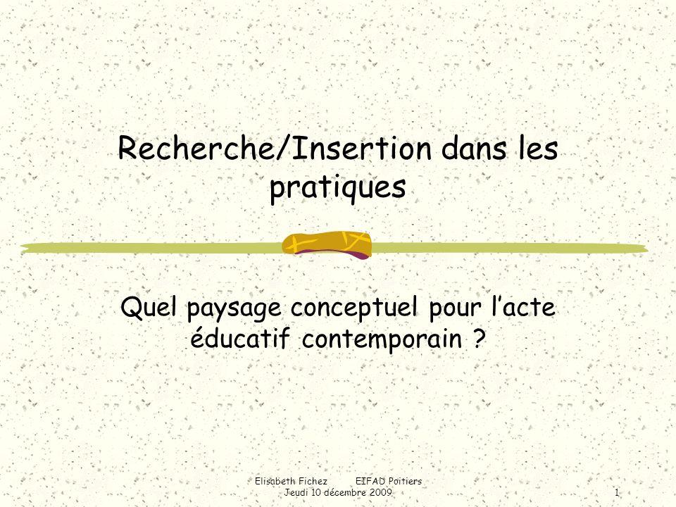 Elisabeth Fichez EIFAD Poitiers Jeudi 10 décembre 20091 Recherche/Insertion dans les pratiques Quel paysage conceptuel pour lacte éducatif contemporain