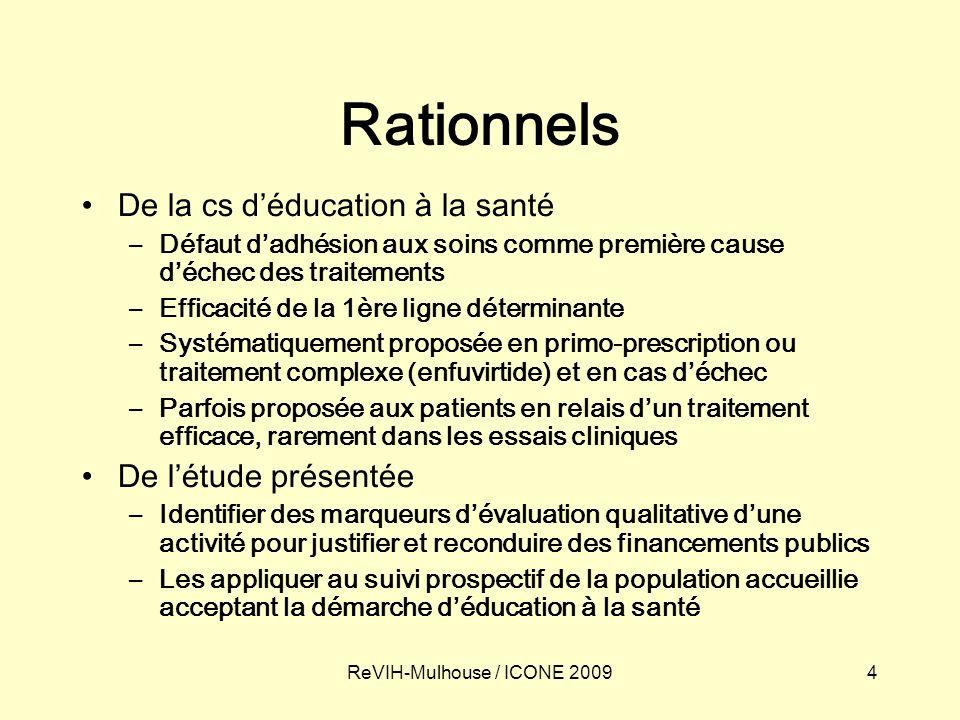 4ReVIH-Mulhouse / ICONE 2009 Rationnels De la cs déducation à la santé –Défaut dadhésion aux soins comme première cause déchec des traitements –Effica