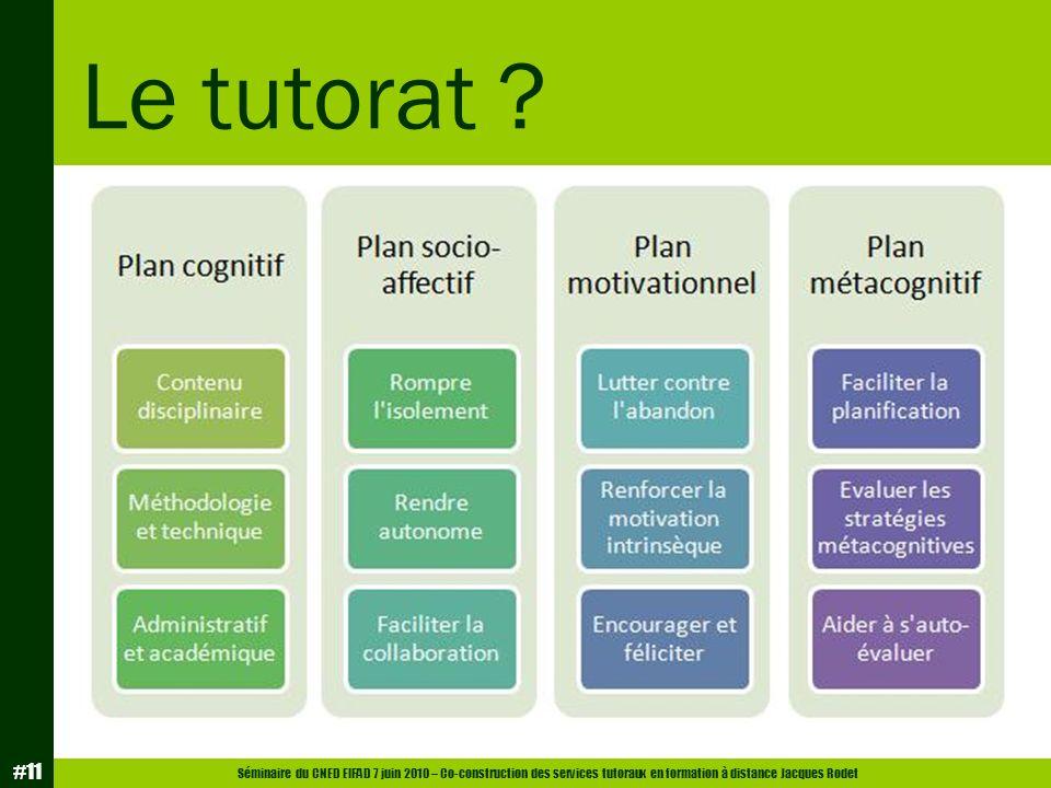 Séminaire du CNED EIFAD 7 juin 2010 – Co-construction des services tutoraux en formation à distance Jacques Rodet #11 Le tutorat ?