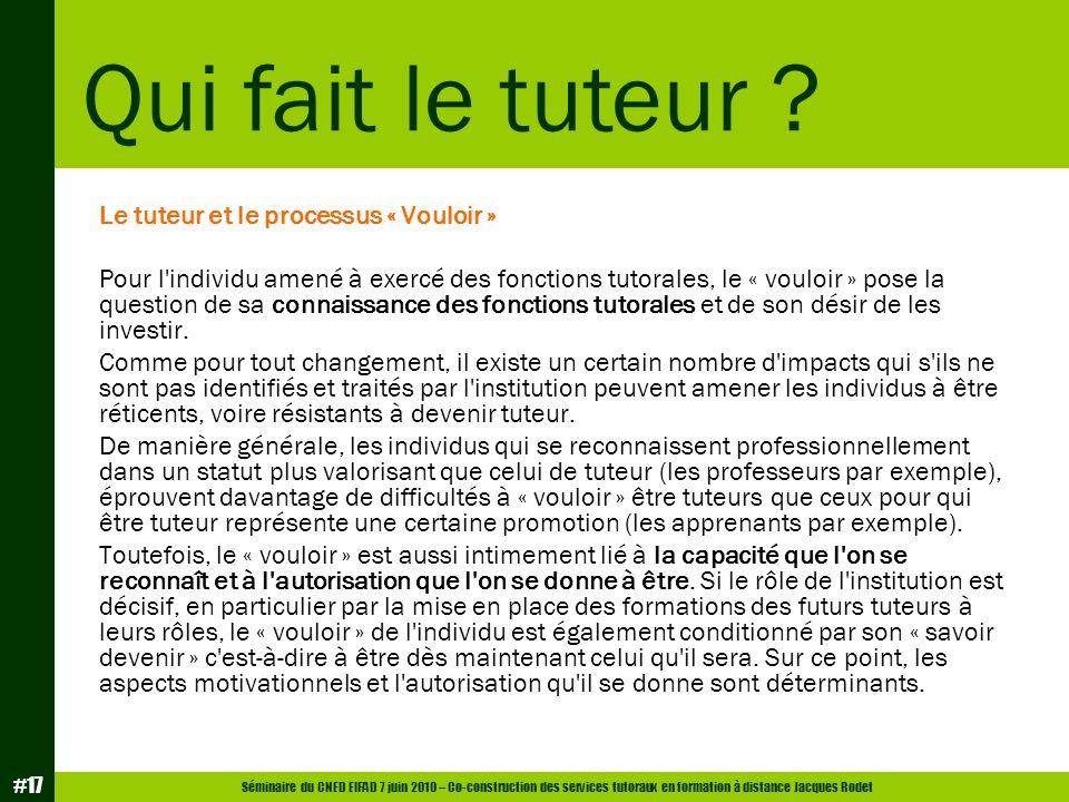Séminaire du CNED EIFAD 7 juin 2010 – Co-construction des services tutoraux en formation à distance Jacques Rodet #17 Le tuteur et le processus « Voul