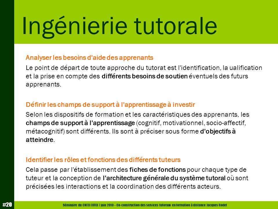 Séminaire du CNED EIFAD 7 juin 2010 – Co-construction des services tutoraux en formation à distance Jacques Rodet #20 Analyser les besoins d'aide des