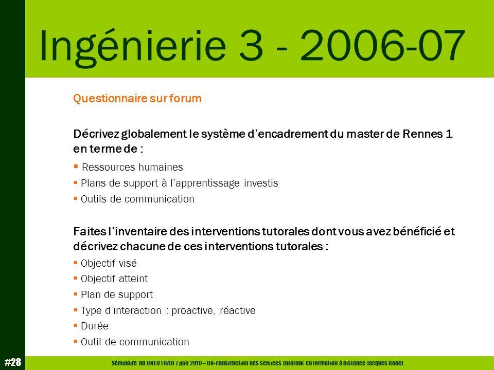 Séminaire du CNED EIFAD 7 juin 2010 – Co-construction des services tutoraux en formation à distance Jacques Rodet #28 Questionnaire sur forum Décrivez