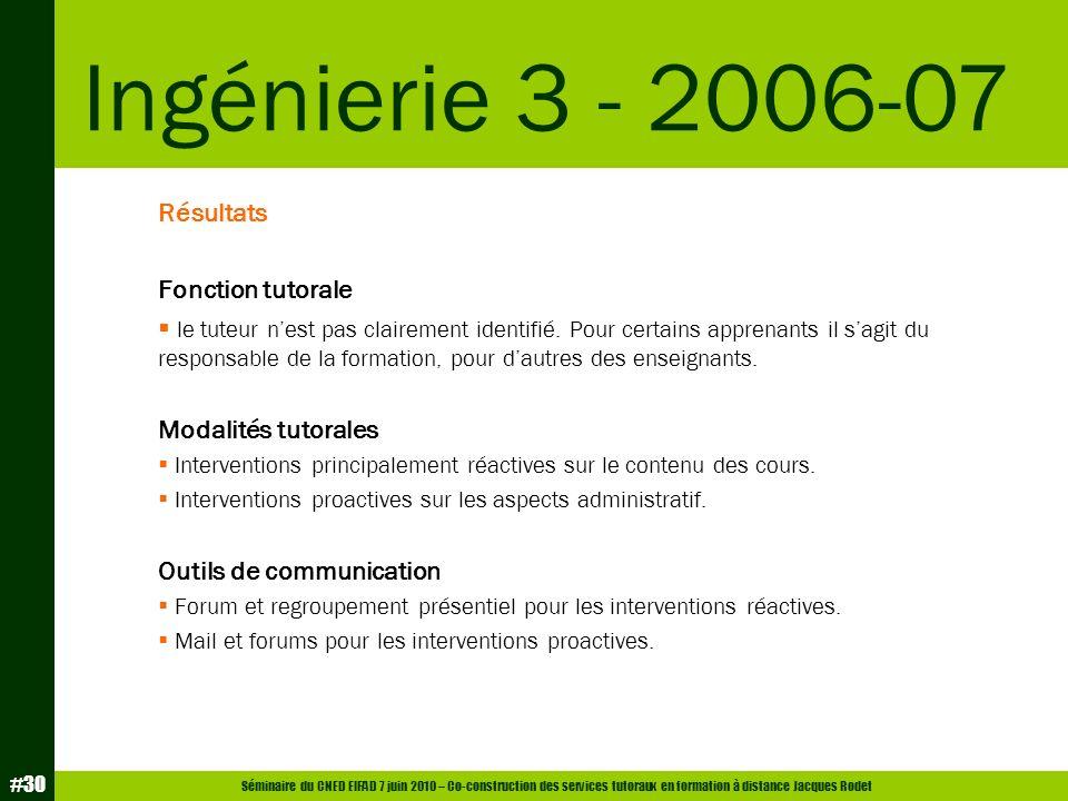 Séminaire du CNED EIFAD 7 juin 2010 – Co-construction des services tutoraux en formation à distance Jacques Rodet #30 Résultats Fonction tutorale le t