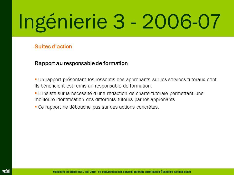 Séminaire du CNED EIFAD 7 juin 2010 – Co-construction des services tutoraux en formation à distance Jacques Rodet #31 Suites daction Rapport au respon
