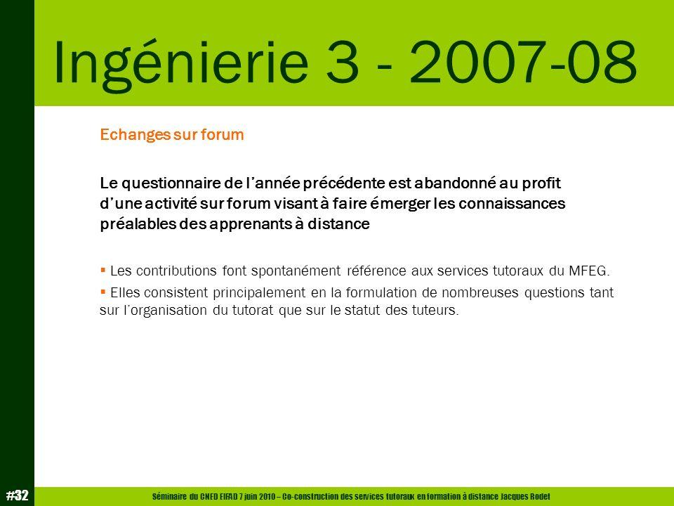 Séminaire du CNED EIFAD 7 juin 2010 – Co-construction des services tutoraux en formation à distance Jacques Rodet #32 Echanges sur forum Le questionna