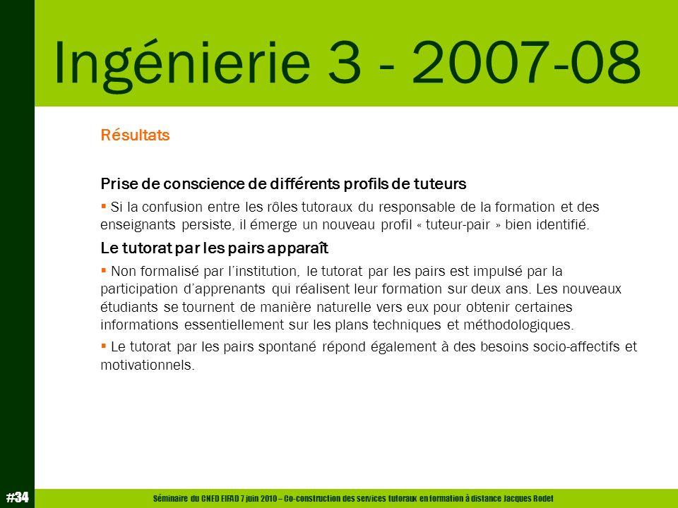 Séminaire du CNED EIFAD 7 juin 2010 – Co-construction des services tutoraux en formation à distance Jacques Rodet #34 Résultats Prise de conscience de