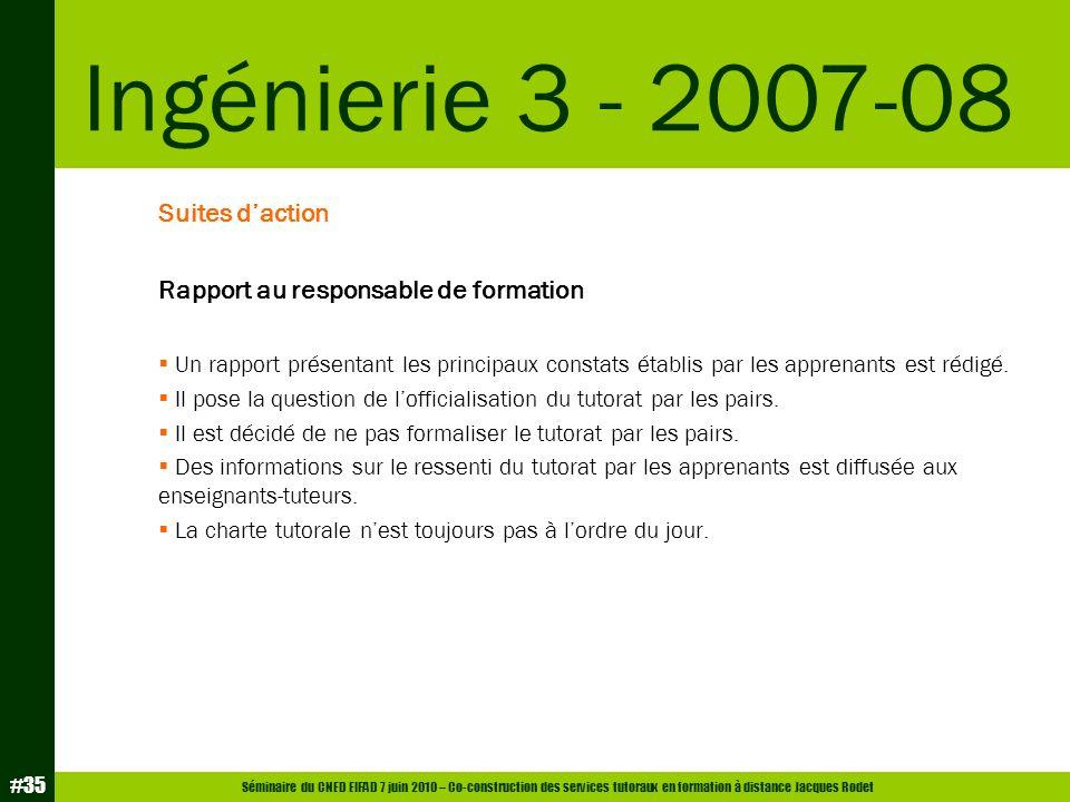 Séminaire du CNED EIFAD 7 juin 2010 – Co-construction des services tutoraux en formation à distance Jacques Rodet #35 Suites daction Rapport au respon