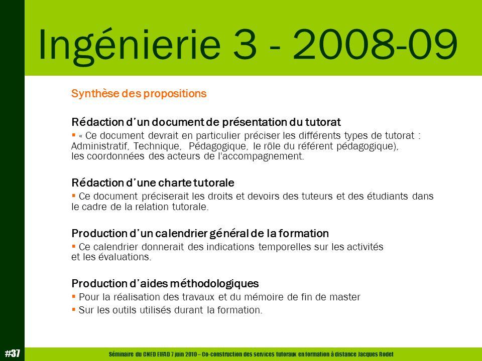 Séminaire du CNED EIFAD 7 juin 2010 – Co-construction des services tutoraux en formation à distance Jacques Rodet #37 Synthèse des propositions Rédact