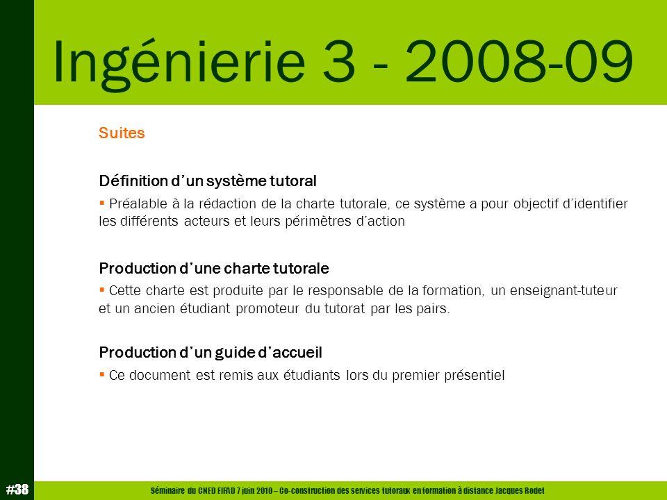 Séminaire du CNED EIFAD 7 juin 2010 – Co-construction des services tutoraux en formation à distance Jacques Rodet #38 Suites Définition dun système tu