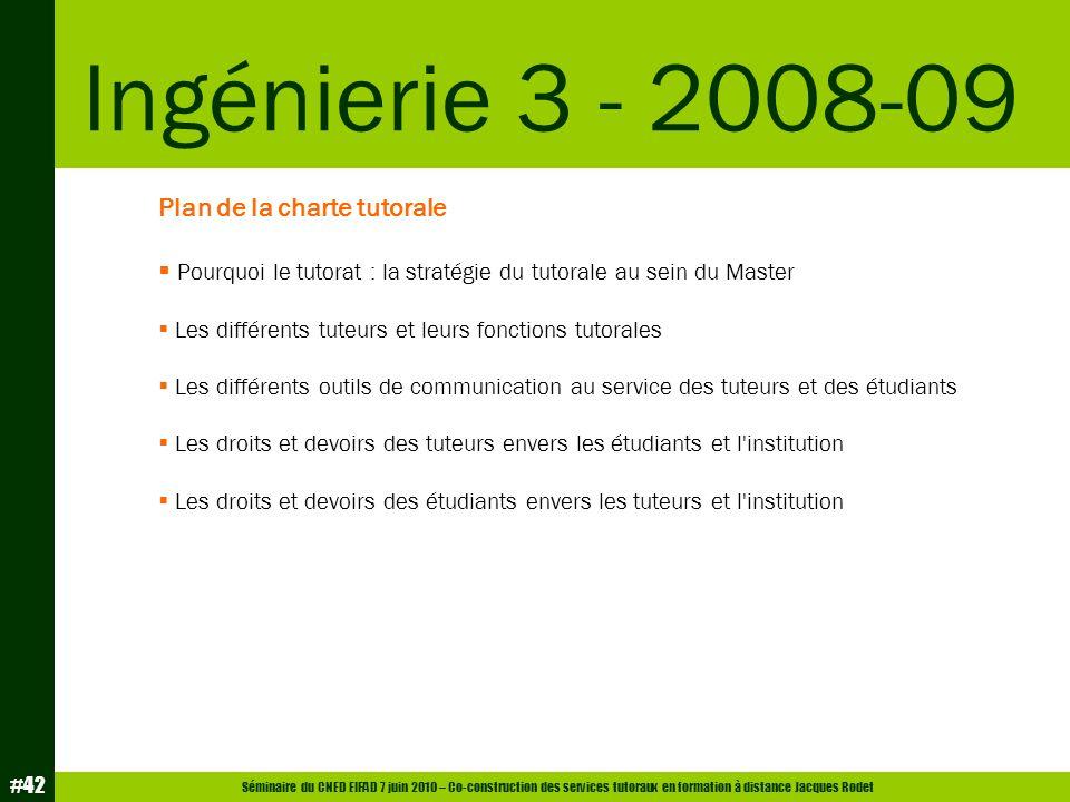 Séminaire du CNED EIFAD 7 juin 2010 – Co-construction des services tutoraux en formation à distance Jacques Rodet #42 Plan de la charte tutorale Pourq