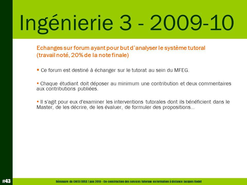 Séminaire du CNED EIFAD 7 juin 2010 – Co-construction des services tutoraux en formation à distance Jacques Rodet #43 Echanges sur forum ayant pour bu