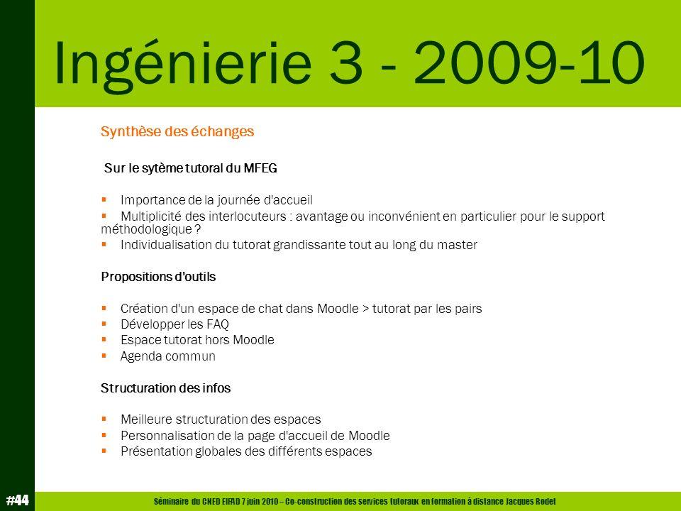 Séminaire du CNED EIFAD 7 juin 2010 – Co-construction des services tutoraux en formation à distance Jacques Rodet #44 Synthèse des échanges Sur le syt