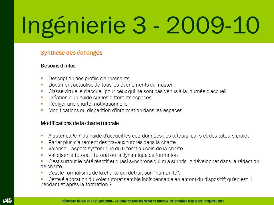 Séminaire du CNED EIFAD 7 juin 2010 – Co-construction des services tutoraux en formation à distance Jacques Rodet #45 Synthèse des échanges Besoins d'