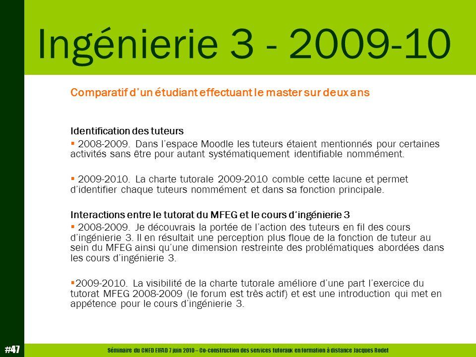 Séminaire du CNED EIFAD 7 juin 2010 – Co-construction des services tutoraux en formation à distance Jacques Rodet #47 Comparatif dun étudiant effectua