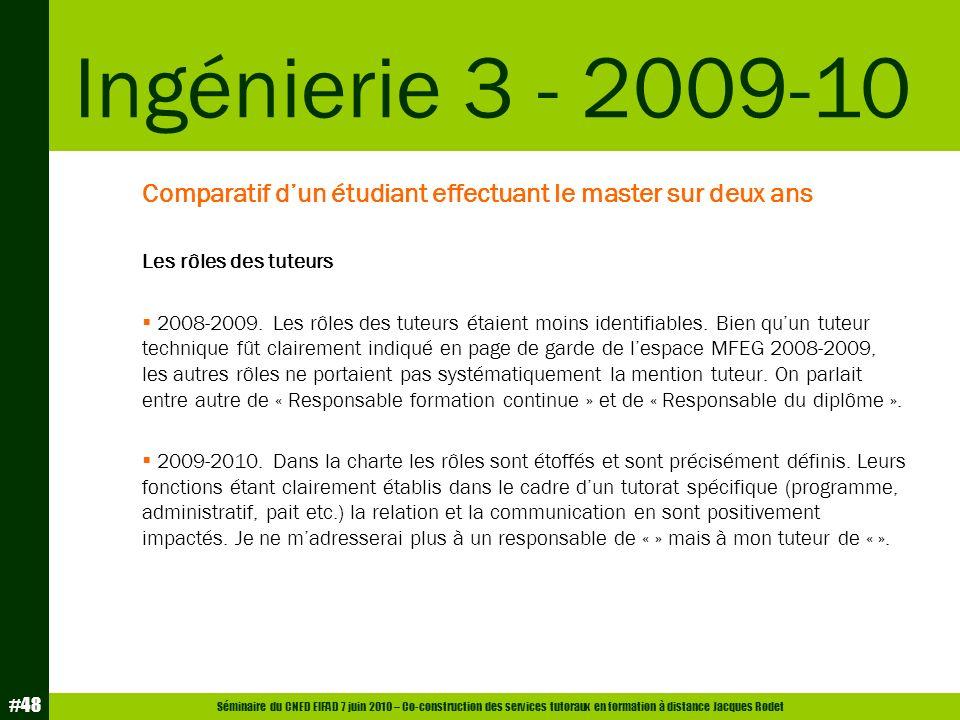 Séminaire du CNED EIFAD 7 juin 2010 – Co-construction des services tutoraux en formation à distance Jacques Rodet #48 Comparatif dun étudiant effectua