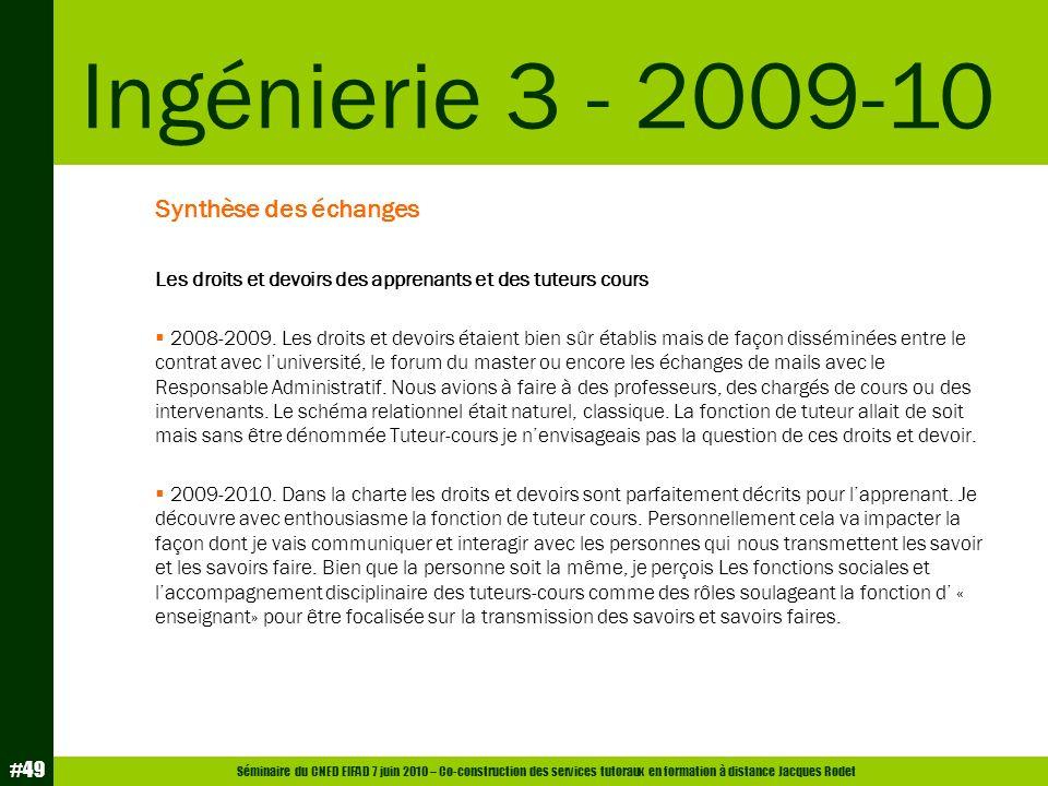 Séminaire du CNED EIFAD 7 juin 2010 – Co-construction des services tutoraux en formation à distance Jacques Rodet #49 Synthèse des échanges Les droits