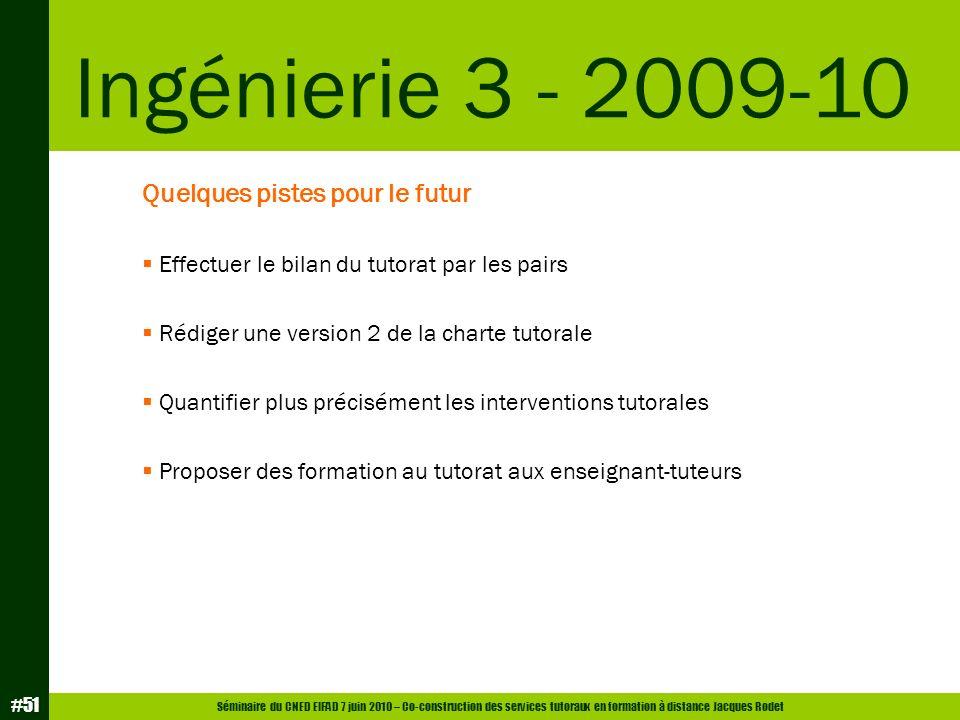 Séminaire du CNED EIFAD 7 juin 2010 – Co-construction des services tutoraux en formation à distance Jacques Rodet #51 Quelques pistes pour le futur Ef