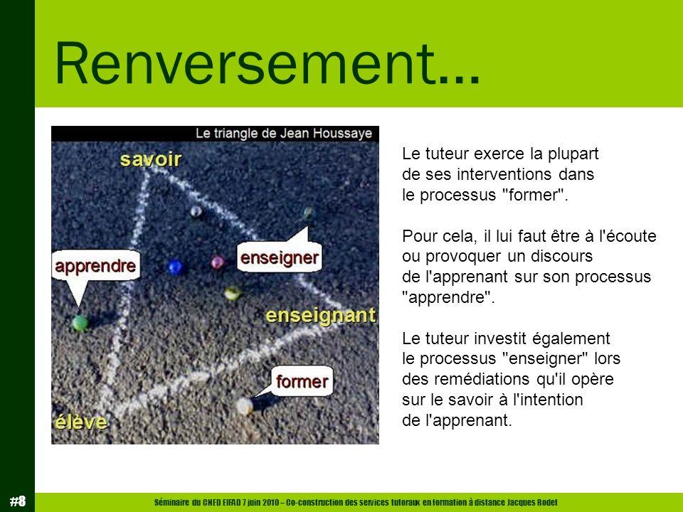Séminaire du CNED EIFAD 7 juin 2010 – Co-construction des services tutoraux en formation à distance Jacques Rodet #8 Renversement… Le tuteur exerce la