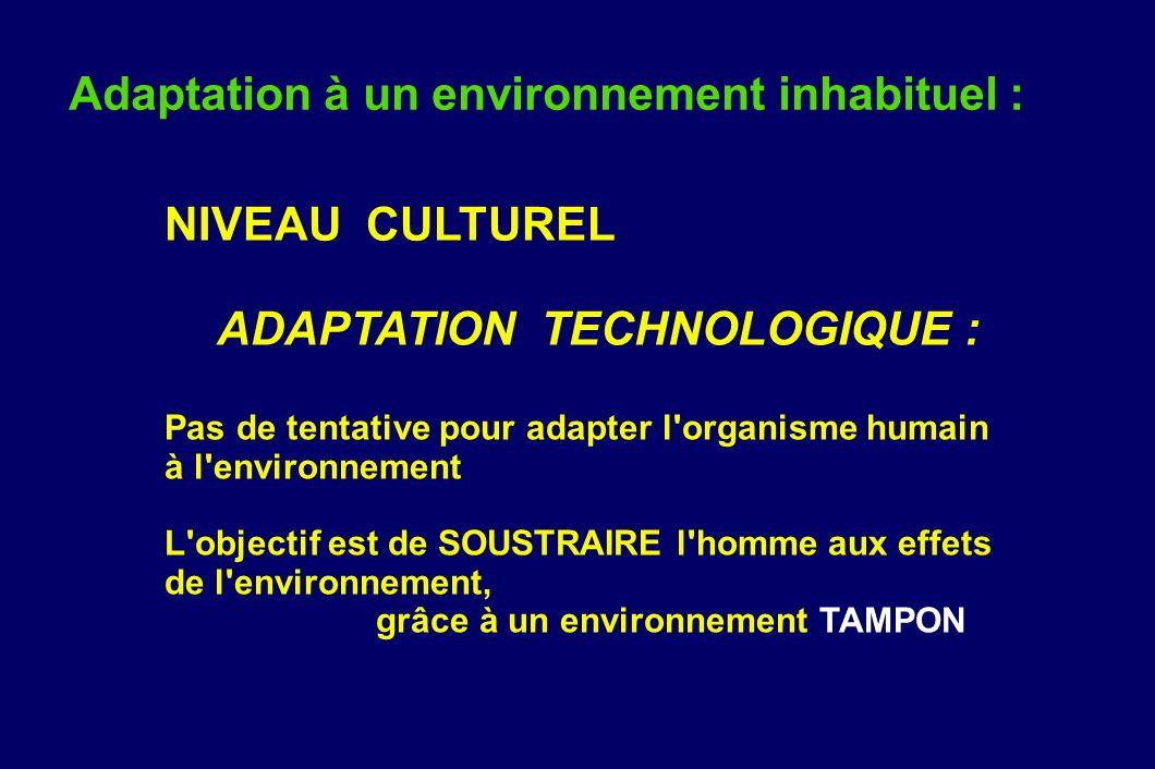 Adaptation à un environnement inhabituel : NIVEAU CULTUREL ADAPTATION TECHNOLOGIQUE : Pas de tentative pour adapter l'organisme humain à l'environneme