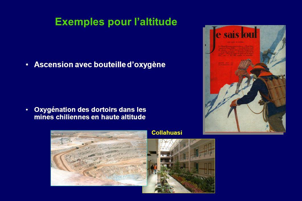 Exemples pour laltitude Ascension avec bouteille doxygène Oxygénation des dortoirs dans les mines chiliennes en haute altitude Collahuasi
