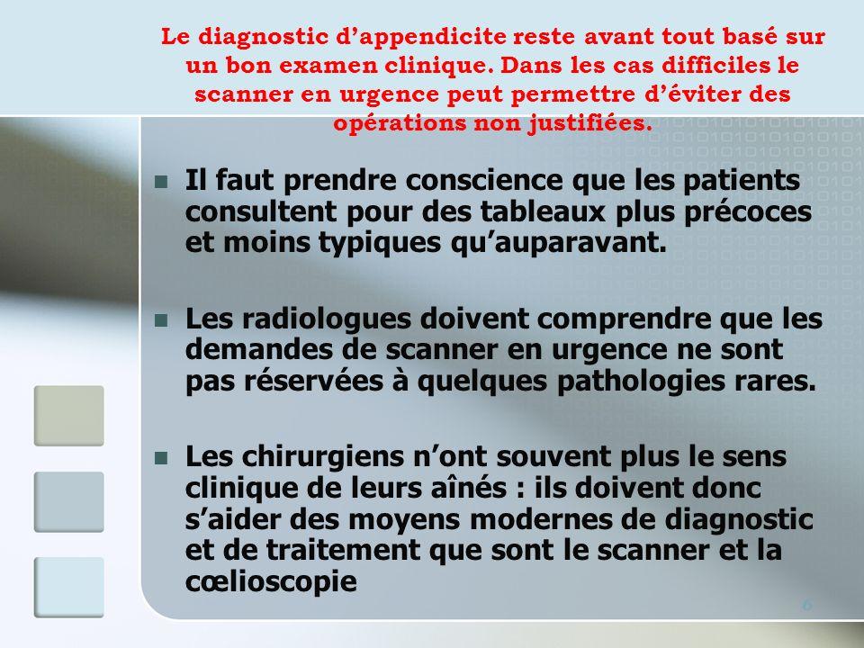 Le diagnostic dappendicite reste avant tout basé sur un bon examen clinique. Dans les cas difficiles le scanner en urgence peut permettre déviter des