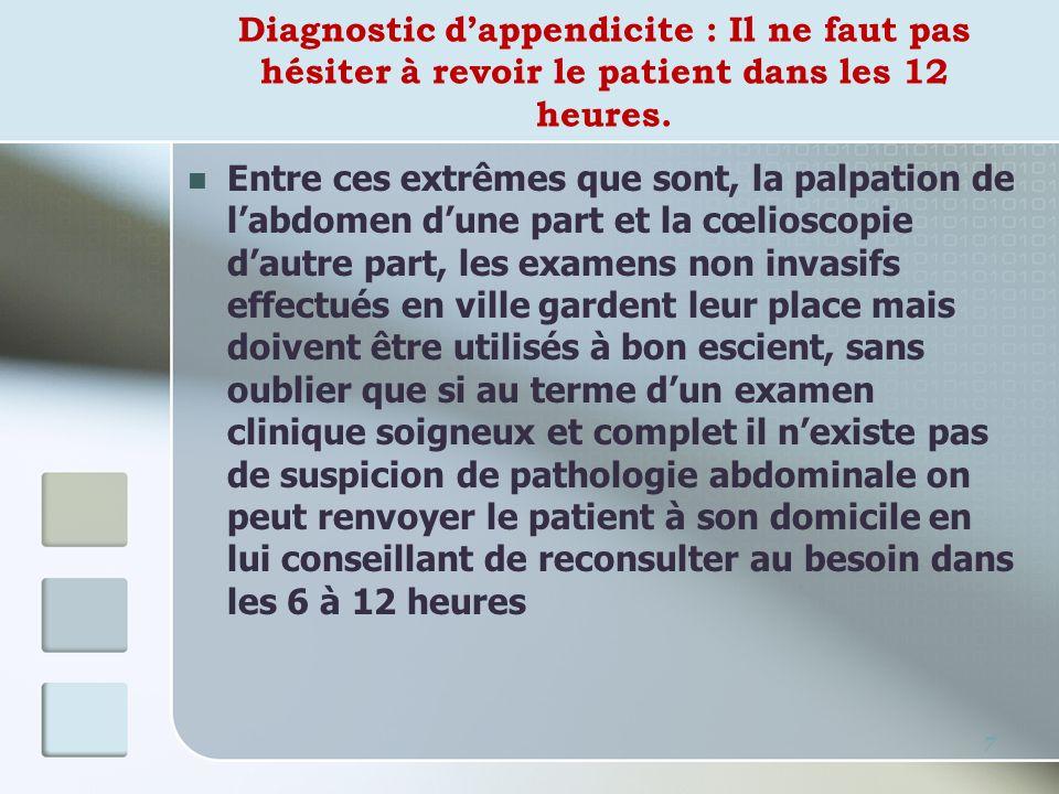 Diagnostic dappendicite : Il ne faut pas hésiter à revoir le patient dans les 12 heures. Entre ces extrêmes que sont, la palpation de labdomen dune pa