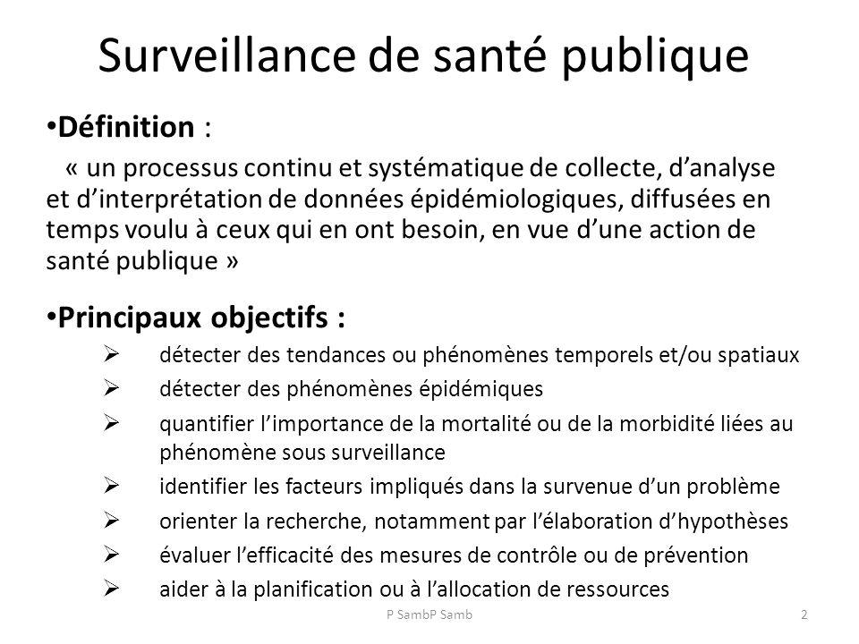P SambP Samb2 Surveillance de santé publique Définition : « un processus continu et systématique de collecte, danalyse et dinterprétation de données épidémiologiques, diffusées en temps voulu à ceux qui en ont besoin, en vue dune action de santé publique » Principaux objectifs : détecter des tendances ou phénomènes temporels et/ou spatiaux détecter des phénomènes épidémiques quantifier limportance de la mortalité ou de la morbidité liées au phénomène sous surveillance identifier les facteurs impliqués dans la survenue dun problème orienter la recherche, notamment par lélaboration dhypothèses évaluer lefficacité des mesures de contrôle ou de prévention aider à la planification ou à lallocation de ressources