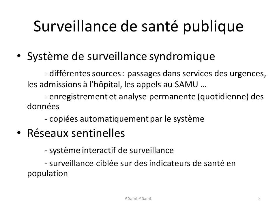 P SambP Samb3 Surveillance de santé publique Système de surveillance syndromique - différentes sources : passages dans services des urgences, les admissions à lhôpital, les appels au SAMU … - enregistrement et analyse permanente (quotidienne) des données - copiées automatiquement par le système Réseaux sentinelles - système interactif de surveillance - surveillance ciblée sur des indicateurs de santé en population