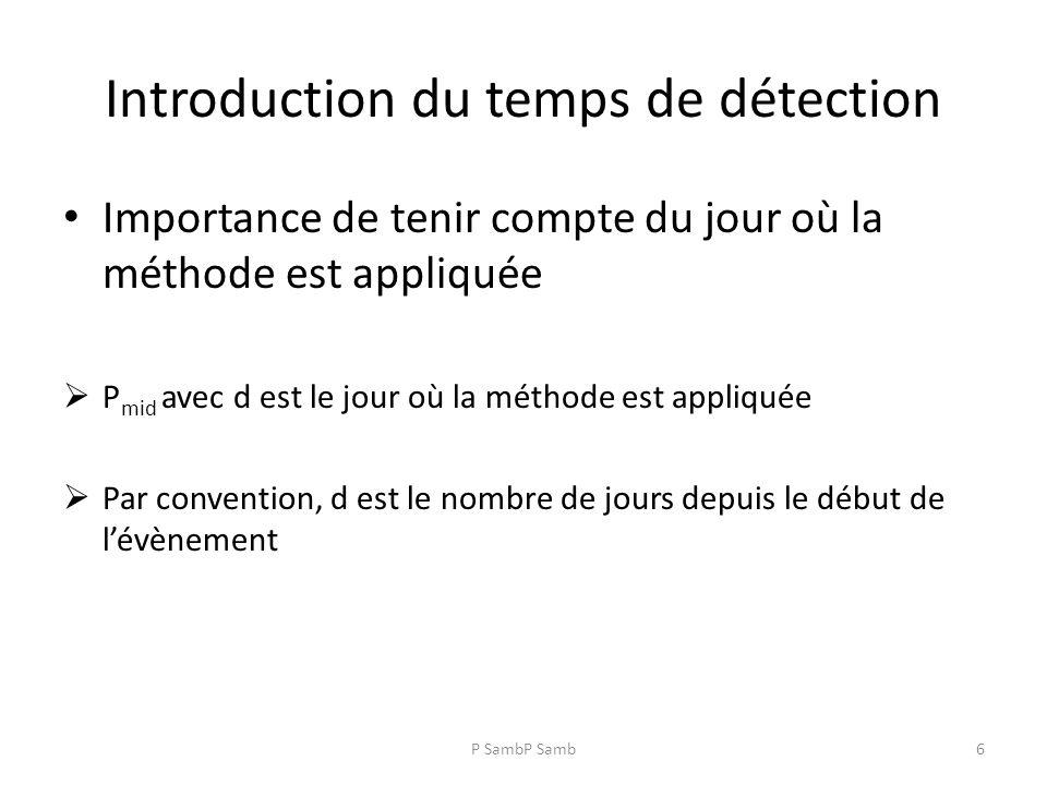 P SambP Samb6 Introduction du temps de détection Importance de tenir compte du jour où la méthode est appliquée P mid avec d est le jour où la méthode est appliquée Par convention, d est le nombre de jours depuis le début de lévènement