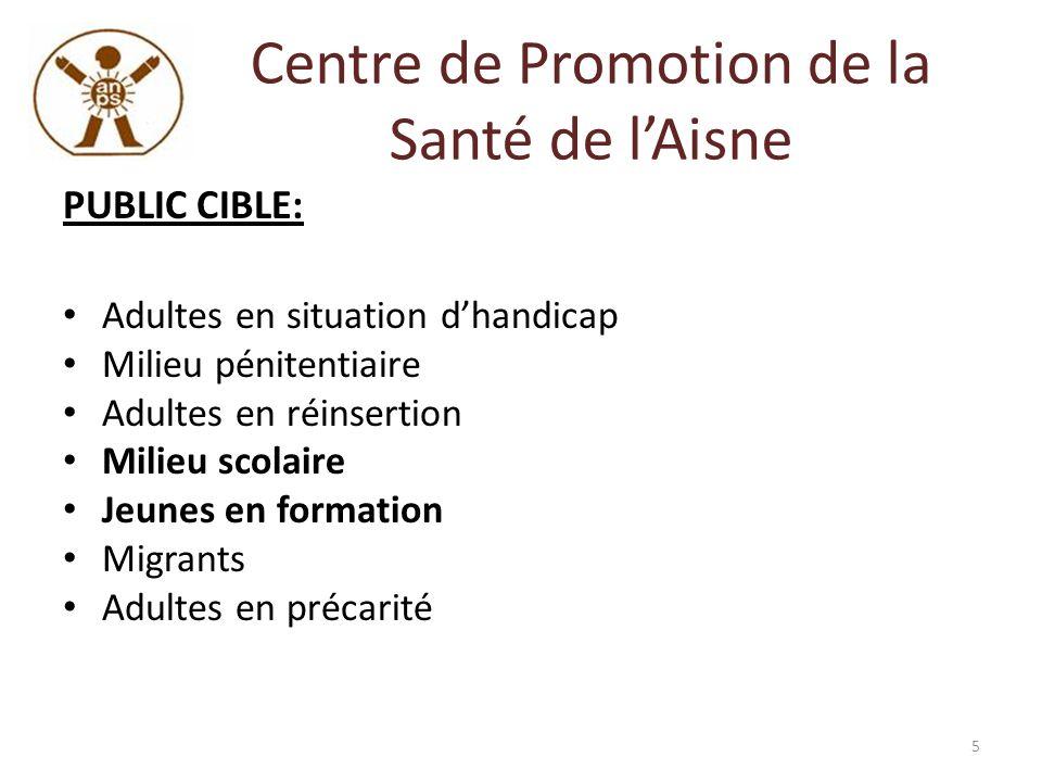 Centre de Promotion de la Santé de lAisne PUBLIC CIBLE: Adultes en situation dhandicap Milieu pénitentiaire Adultes en réinsertion Milieu scolaire Jeu