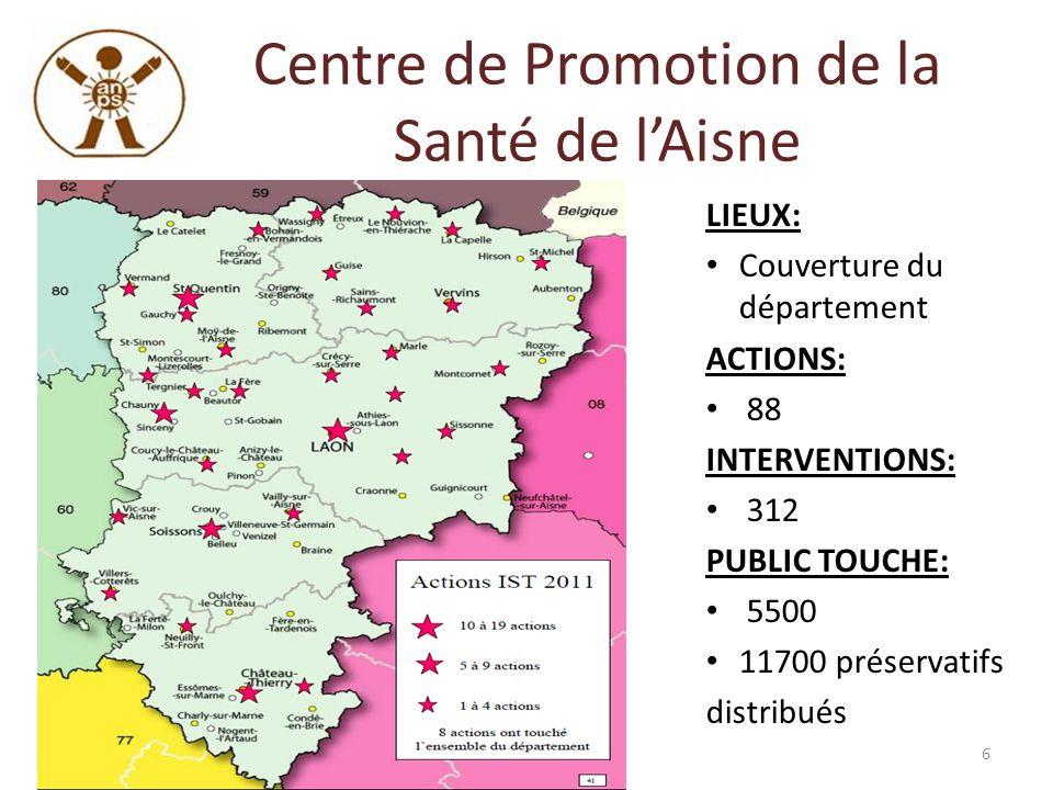 Centre de Promotion de la Santé de lAisne LIEUX: Couverture du département ACTIONS: 88 INTERVENTIONS: 312 PUBLIC TOUCHE: 5500 11700 préservatifs distr