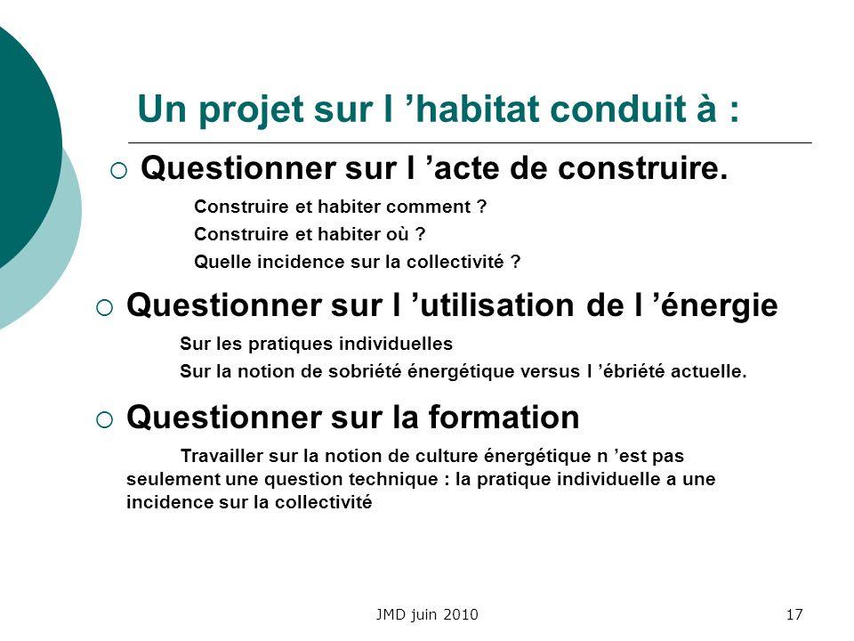 JMD juin 201017 Un projet sur l habitat conduit à : Questionner sur l acte de construire. Construire et habiter comment ? Construire et habiter où ? Q