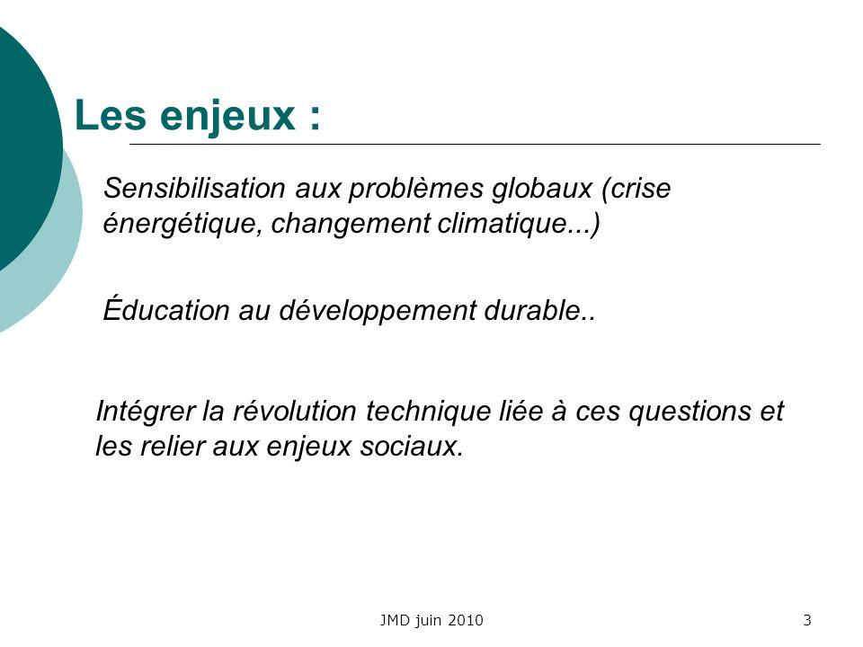 JMD juin 20103 Sensibilisation aux problèmes globaux (crise énergétique, changement climatique...) Intégrer la révolution technique liée à ces questio