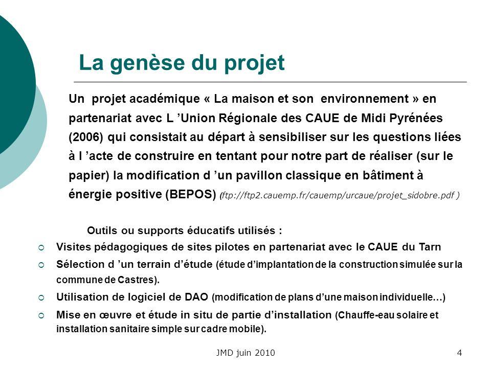 JMD juin 20104 La genèse du projet Un projet académique « La maison et son environnement » en partenariat avec L Union Régionale des CAUE de Midi Pyré