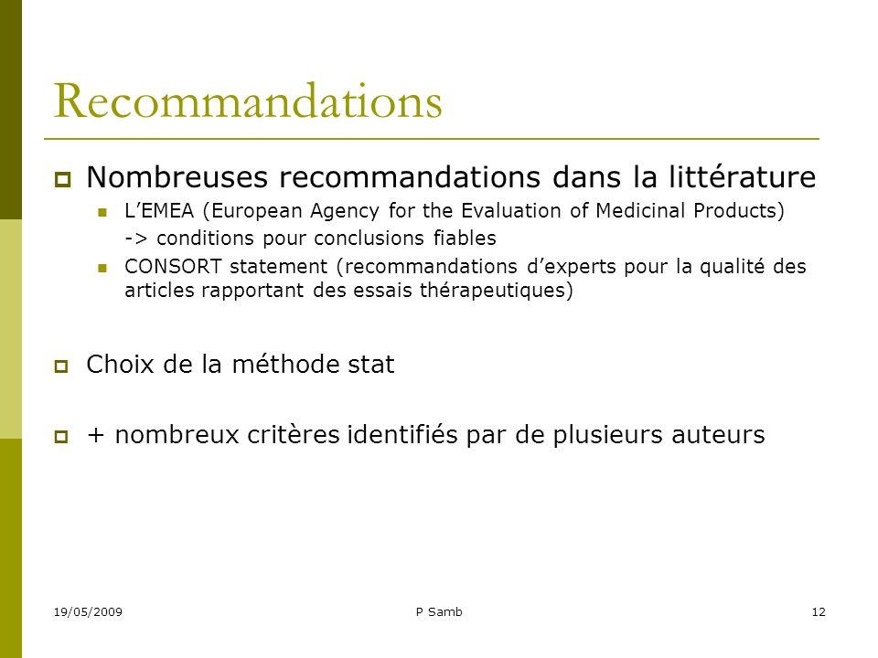 19/05/2009P Samb12 Recommandations Nombreuses recommandations dans la littérature LEMEA (European Agency for the Evaluation of Medicinal Products) ->