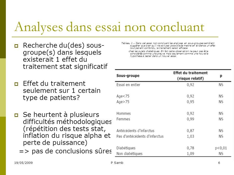 19/05/2009P Samb6 Analyses dans essai non concluant Recherche du(des) sous- groupe(s) dans lesquels existerait 1 effet du traitement stat significatif