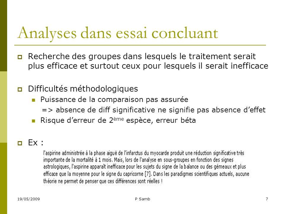 19/05/2009P Samb7 Analyses dans essai concluant Recherche des groupes dans lesquels le traitement serait plus efficace et surtout ceux pour lesquels i