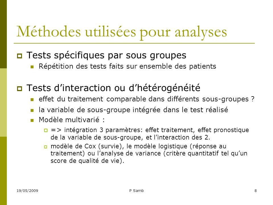 19/05/2009P Samb8 Méthodes utilisées pour analyses Tests spécifiques par sous groupes Répétition des tests faits sur ensemble des patients Tests dinte