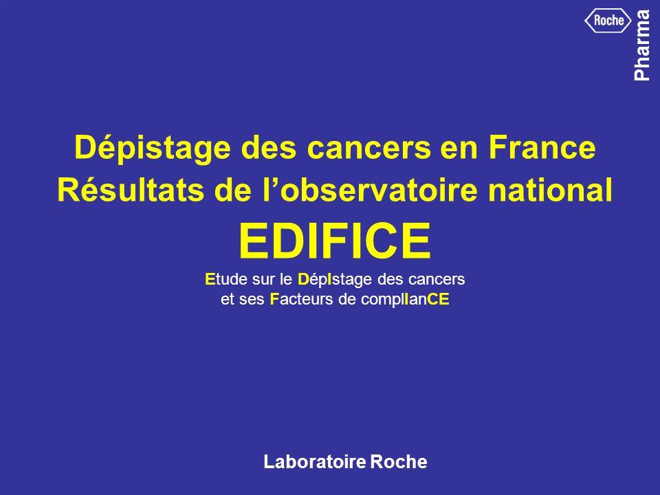Pharma Dépistage des cancers en France Résultats de lobservatoire national EDIFICE Etude sur le DépIstage des cancers et ses Facteurs de complIanCE La