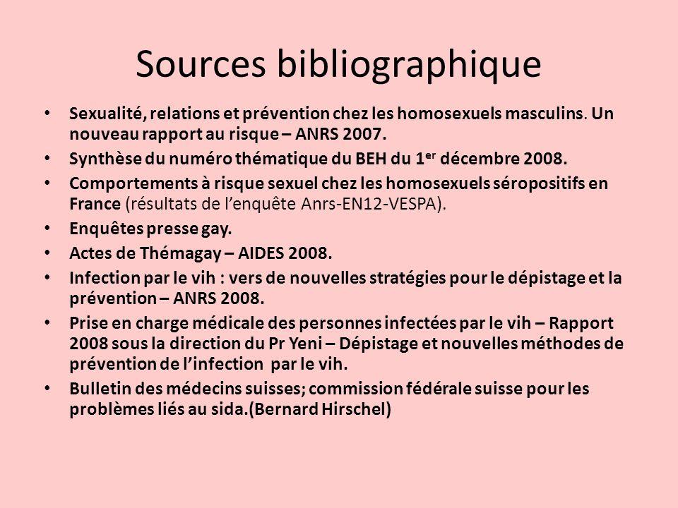 Sources bibliographique Sexualité, relations et prévention chez les homosexuels masculins. Un nouveau rapport au risque – ANRS 2007. Synthèse du numér