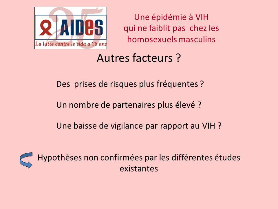 Une épidémie à VIH qui ne faiblit pas chez les homosexuels masculins Autres facteurs ? Des prises de risques plus fréquentes ? Un nombre de partenaire