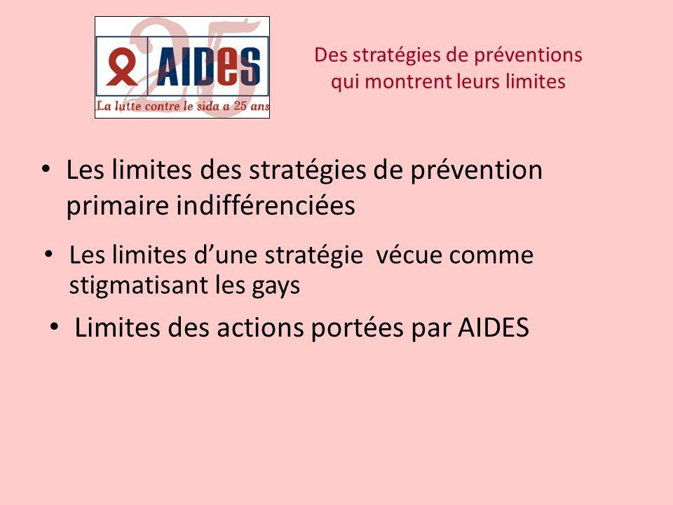 Des stratégies de préventions qui montrent leurs limites Les limites des stratégies de prévention primaire indifférenciées Les limites dune stratégie