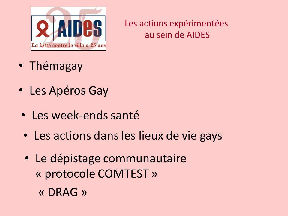 Les actions expérimentées au sein de AIDES Thémagay Les Apéros Gay Les week-ends santé Les actions dans les lieux de vie gays Le dépistage communautai
