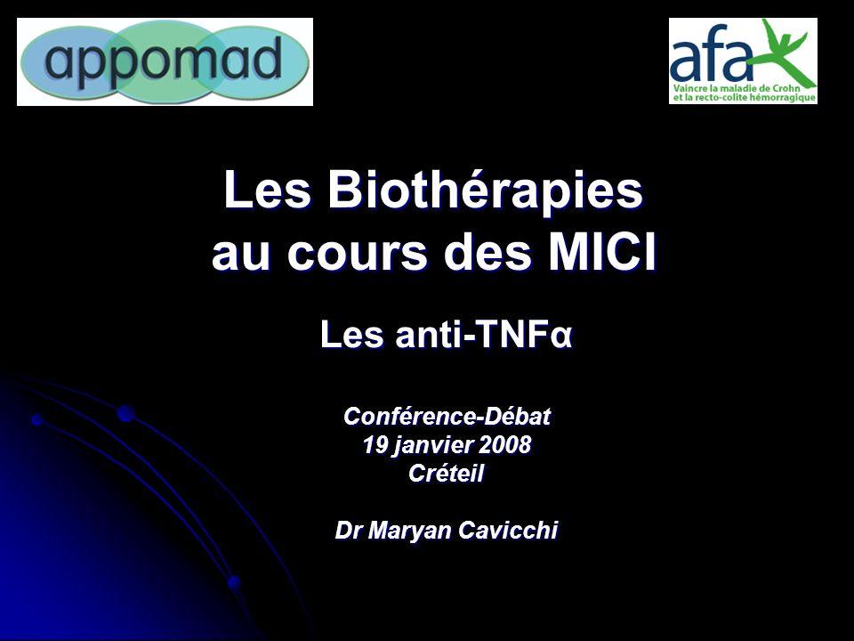 Les Biothérapies au cours des MICI Les anti-TNFα Conférence-Débat 19 janvier 2008 Créteil Dr Maryan Cavicchi