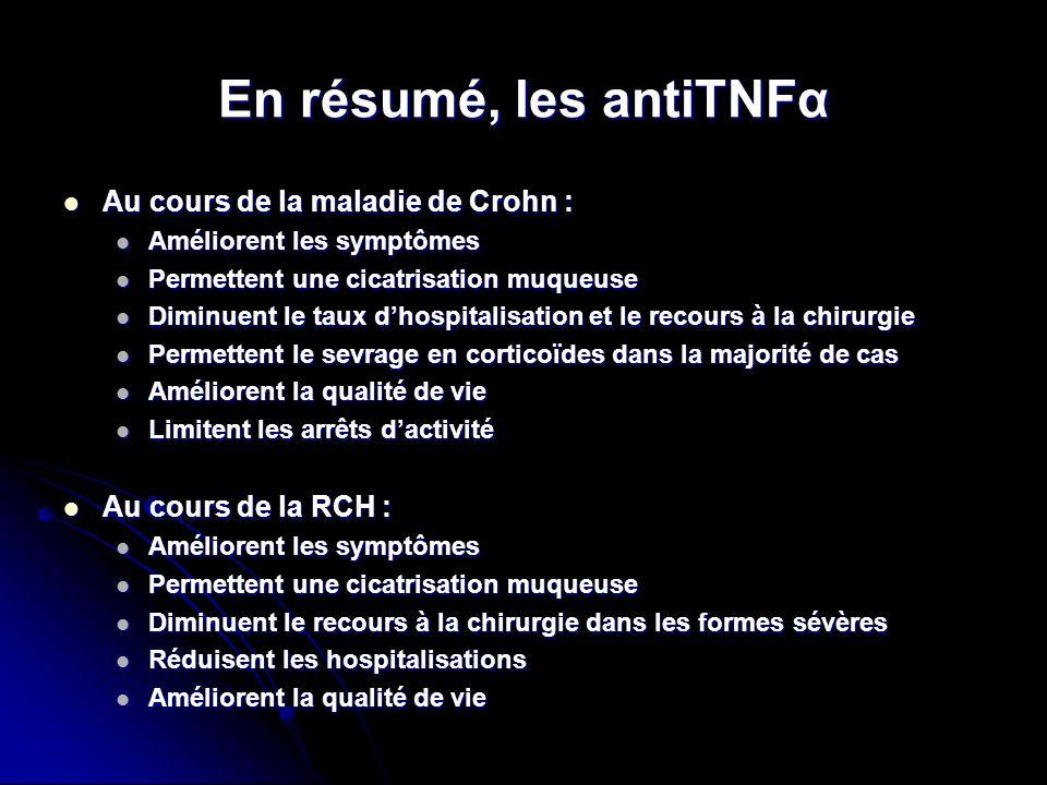 En résumé, les antiTNFα Au cours de la maladie de Crohn : Au cours de la maladie de Crohn : Améliorent les symptômes Améliorent les symptômes Permette